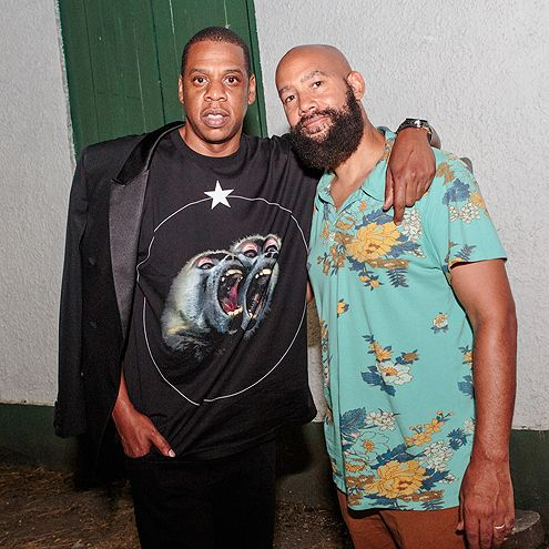 Star Tracks: Monday, July 6, 2015   FRIEND FEST   Jay Z and brother-in-law Alan Ferguson (Solange's husband) pose for a photo while attending the Essence Festival in New Orleans on Saturday.