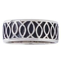 Sterling Silver Men's Christian Ring | Repeating Pattern Ichthys Fish
