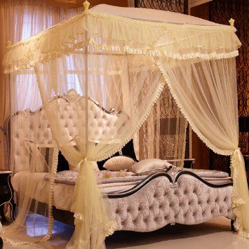 Baihong 4 corner square top princess home decoration for Rectangle bed canopy