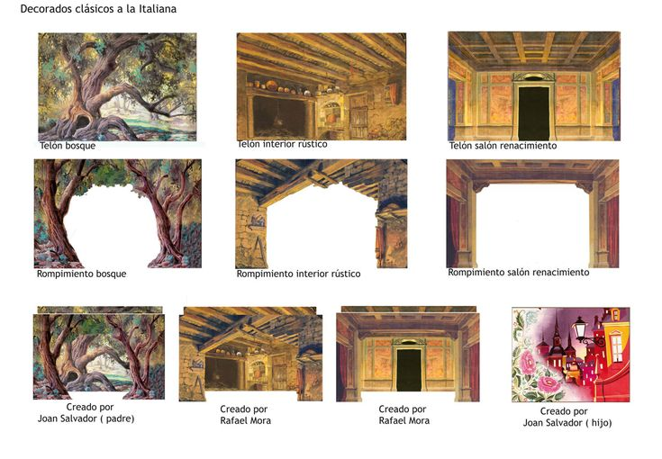 Decorado conjunto de elementos necesarios para ambientar y representar una obra de teatro Montaron una escenografía expresionista.