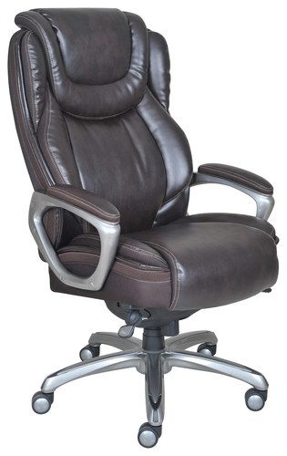 Serta - Big & Tall Smart Layers Leather Executive Chair - Coffee Brown