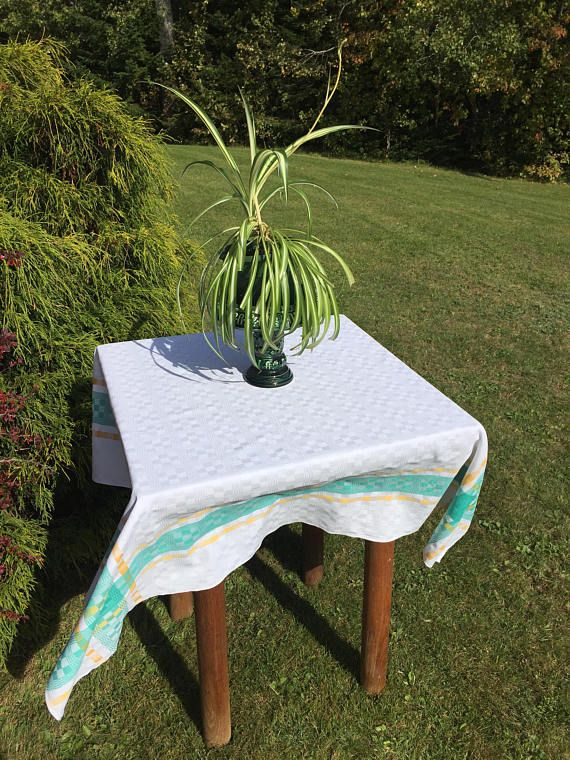 Vintage Damask Tablecloth White Damask check design with a