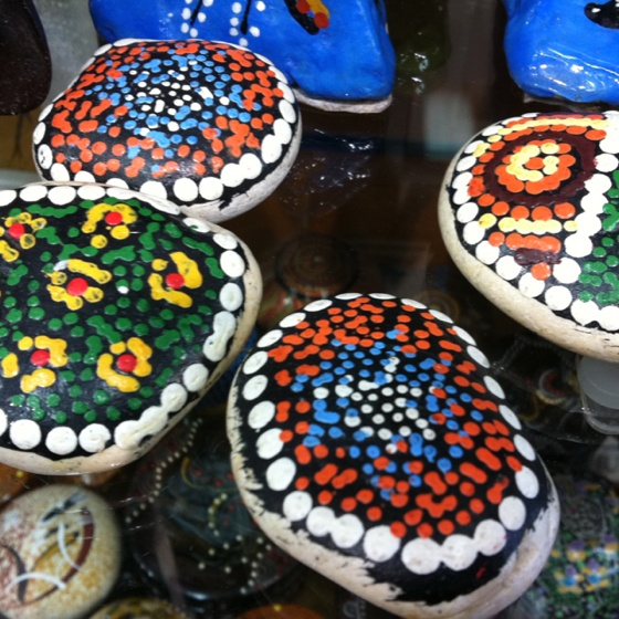 Aboriginal dot painting on stones