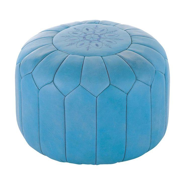 Marokkanischer Sitzpuff Leder blau MARRAKECH