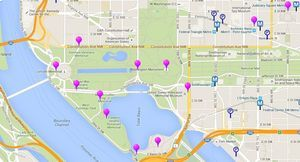 See a map and directions to the Monuments and Memorials in Washington DC, a map highlighting monuments and memorials and the surrounding area: Closeup Map of the Washington DC Memorials