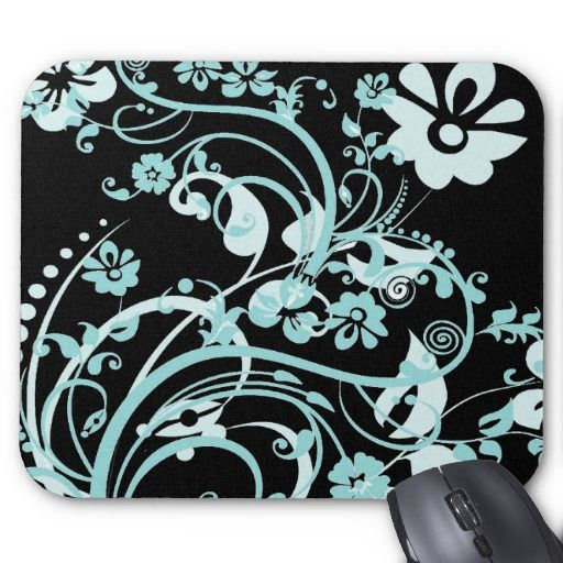 Aqua Teal and Black Floral Swirls Gifts for Girls Mousepad  #SOLD on #Zazzle
