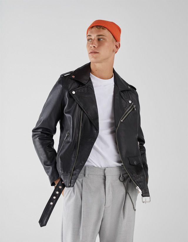 Cazadoras De Hombre Otoño Invierno 2018 Bershka Moda Ropa Hombre Chaqueta De Cuero Hombre Moda Hombre