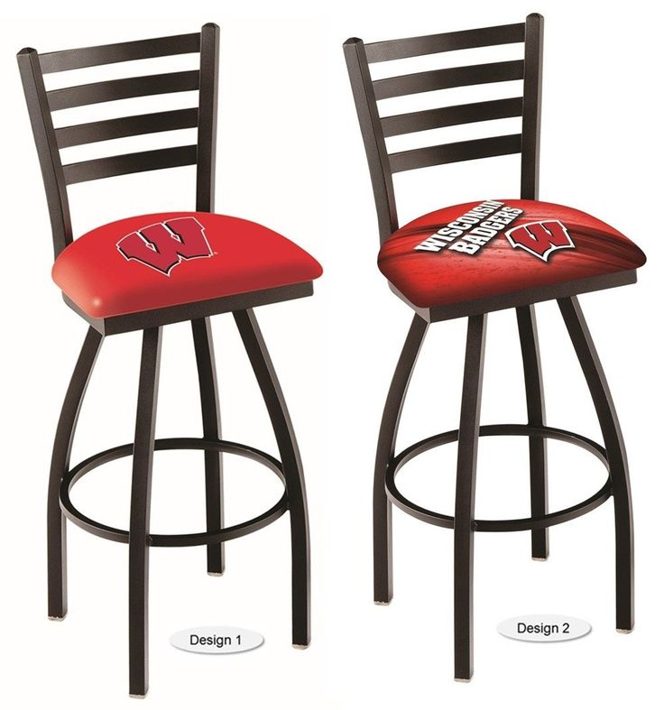 The NCAA officially licensed W Wisconsin Badgers Bar Stool has a defined ladder back style with a black wrinkle finish. Free shipping. Excellent quality. Visit sportsfansplus.com for details.