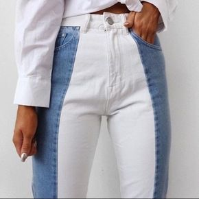 high rise two tone jeans. Visit Daily Dress Me at dailydressme.com for more inspiration               women's fashion 2018, fall fashion, winter fashi…