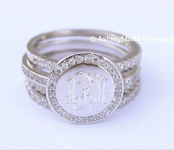 Sterling Silver Monogram Ring Engraved Ring by AshleyMariaMonogram
