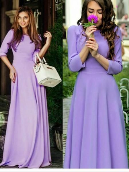 5aca2235ab33 Purple Pleated Long Sleeve Round Neck Big Swing Elegant Church Party Maxi  Dress