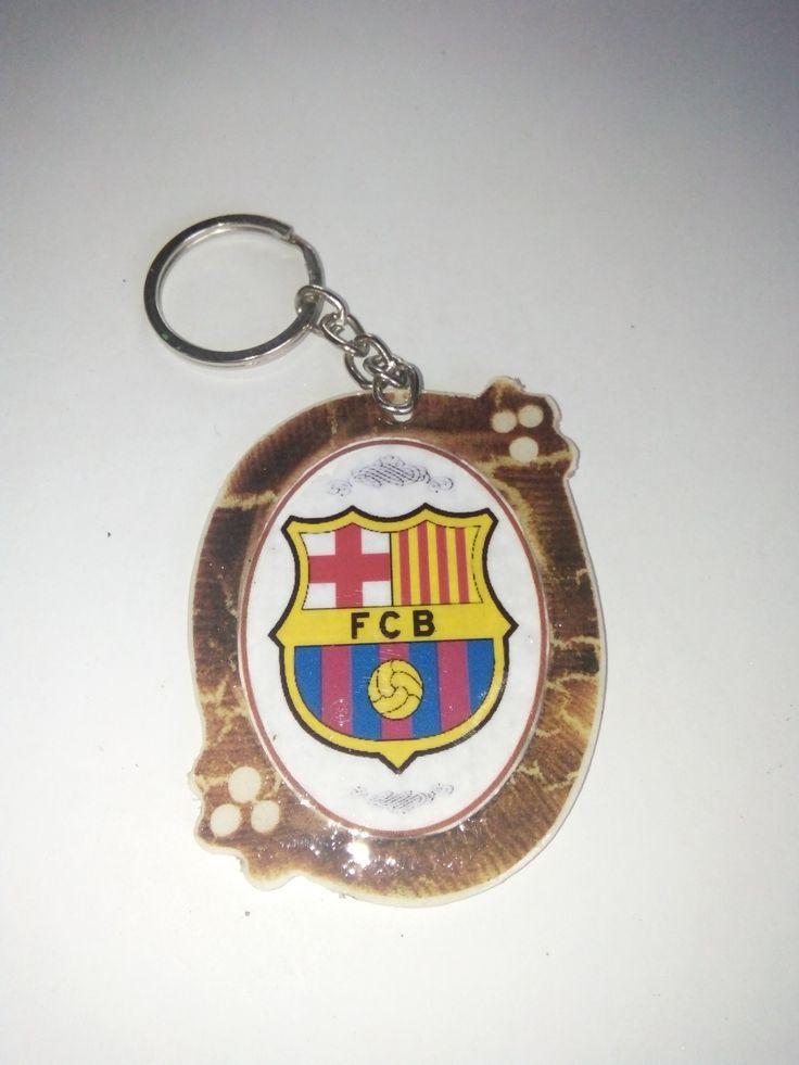 Gantungan Kunci Paralon Bakar Logo Klub Sepakbola BARCELONA