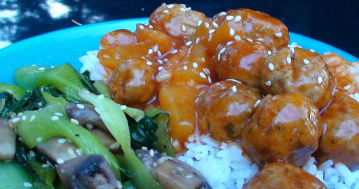 Lyndsay The Kitchen Witch: Sweet and Sour Meatballs with Bok Choy and Mushroom Stir Fry