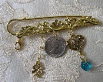 Something Old Something New …. Traditional Gold Tone Bridal Pin/Keepsake/Wedding Gift