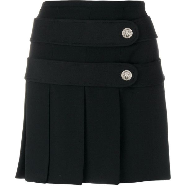 Versus pleated button tab mini skirt (7.745.475 VND) ❤ liked on Polyvore featuring skirts, mini skirts, black, pleated mini skirt, pleated miniskirt, short pleated skirt, mini skirt and short skirts