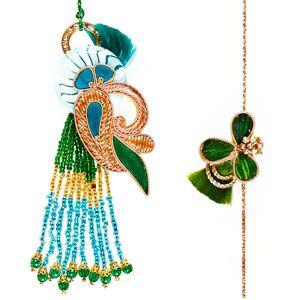 Bhaiya Bhabhi Rakhi Set: Set of rakhi and lumba for Bhaiya and Bhabhi. The Lumba (rakhi for Bhabhi) is made of golden, blue and green zardozi work with small beads & small stones dangling at the bottom. It has a matching zardozi rakhi for brother. Costs Rs 807/- http://www.tajonline.com/rakhi-gifts/product/rdr71/bhaiya-bhabhi-rakhi-set/?aff=pinterest2013/