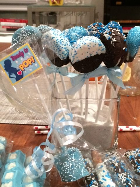 baby shower oreo and marshmallow pops
