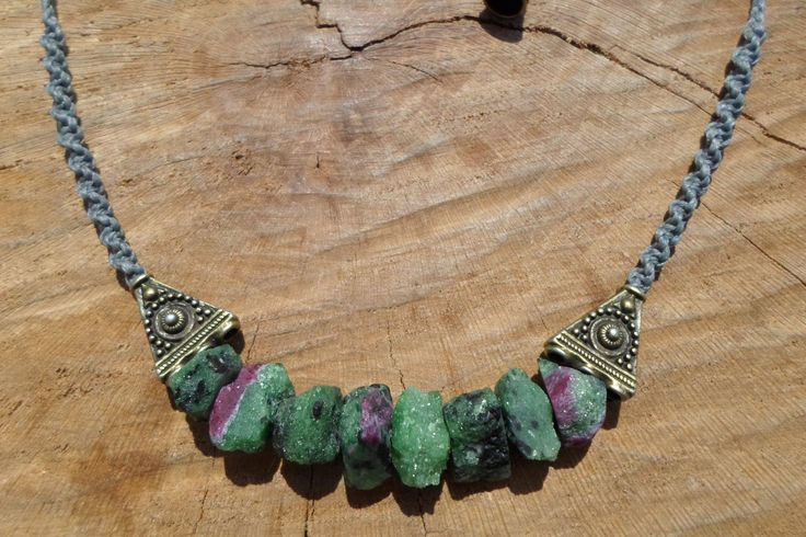 raw ruby zoisite beads macrame necklace with tribal design brass and adjustable length,healing gemstone,macrame jewelry,stone necklace by ARTEAMANOetsy on Etsy