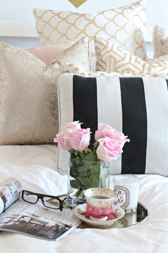 Home decor | home office | workspae | I love black and white stripes with white walls and pops of pink. So romantic!