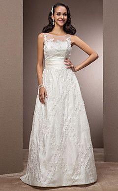 uma linha-bateau do assoalho-comprimento vestido de noiva d... – BRL R$ 717,07