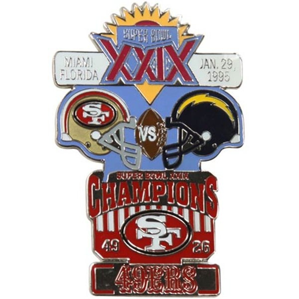 SUPER BOWL XXIX Pin  Proudly commemorate the San Francisco 49ers' 49-26 victory over the San Diego Chargers in Super Bowl XXIX with this Champions collectors pin! Featuring vibrant team graphics and bold champs lettering celebrating the 1995 game held in Miami, Florida, this pin is perfect for showing off your team's big win!