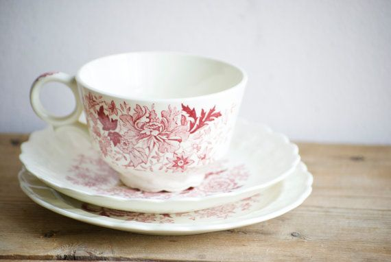 Red Transferware Pretty Vintage Teacup & Saucer Taylor Smith Trio Bouquet with Red Garland Shape  Retro Americana Valentine's Day Gift by VintageFlicker