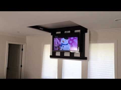 """Motorized fully automated Flip-down ceiling TV lift 46""""-60"""" (120 LB) - YouTube"""