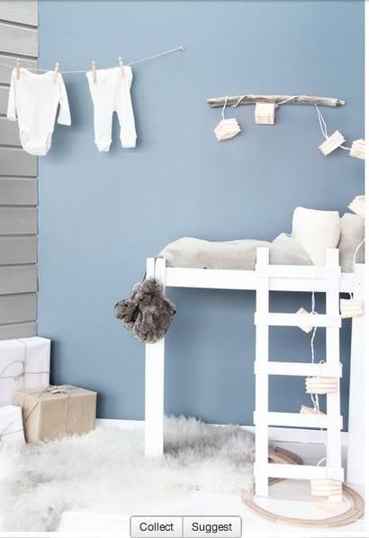 Zacht blauw met grijs en wit fris maar rustig en lief