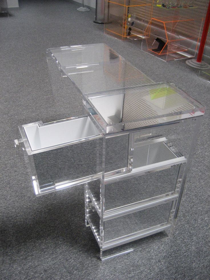 Exceptional To Maintain The Look Of Invisibility, The Clear Acrylic Drawers Were Lined  With Acrylic Mirror