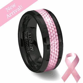 Black Ceramic  Pink Carbon Fiber Ring | Pink Wedding Band
