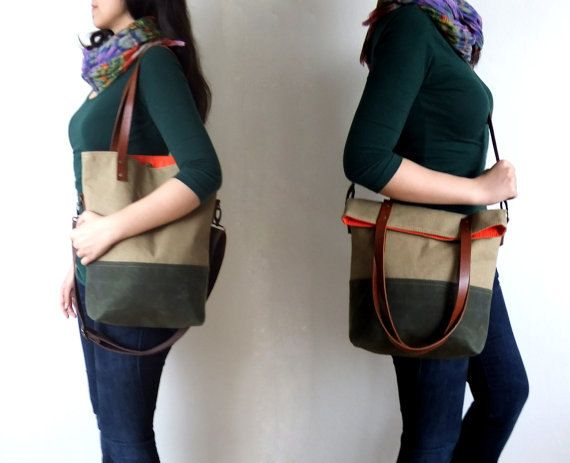 This foldover bag has a waxed canvas base in olive green. It has waterproof body in beige. It can be used as a tote and messenger bag. It has two interior pocket. Interior lining is from orange cotton. It has leather handles in brown and an adjustable detachable cotton strap in dark brown. It is suitable for both men and women.  Now you can find this bag in black : https://www.etsy.com/listing/218523454/waterproof-foldover-bag-convertible-tote?ref=shop_home_active_6  Fast International…