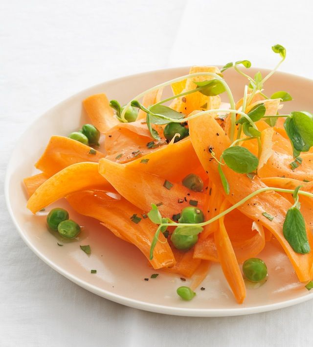 carrots, peas and mint in a grape seed oil, lemon, honey and mint ...