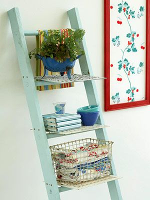 This would be great to put outside with flower pots. Love this!!!: Storage Spaces, Decor Ideas, Old Ladder, Ladder Decor, Frames Fabrics, New Life, Vintage Charms, Ladder Shelf, Ladder Shelves