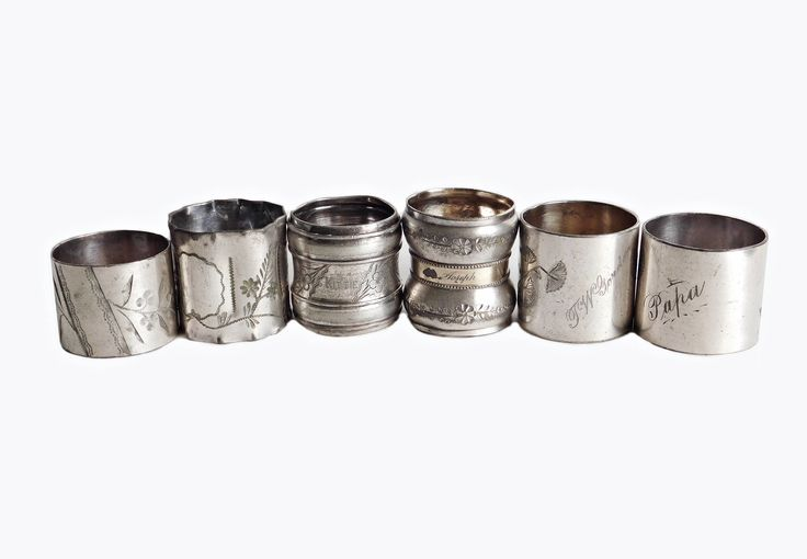 Antique Silver Napkin Rings, Mismatched Lot of 6, Monogrammed Napkin Rings, Victorian Napkin Rings, Ornately Engraved, Silver Plated by LavishMaidenVintage on Etsy