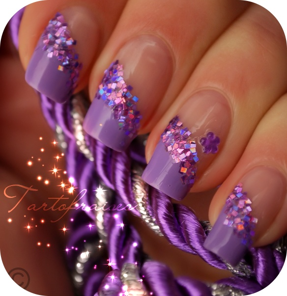 purple glitz manicure
