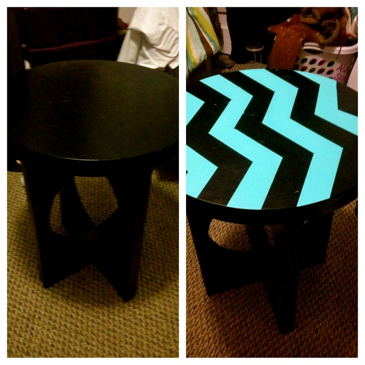 bed side table painted with bright blue for a chevron design