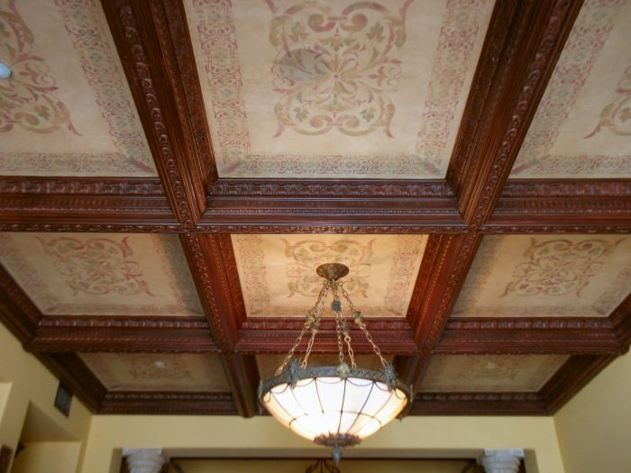 17 best images about paneled walls and coffered ceiling for Coffered ceiling paint ideas
