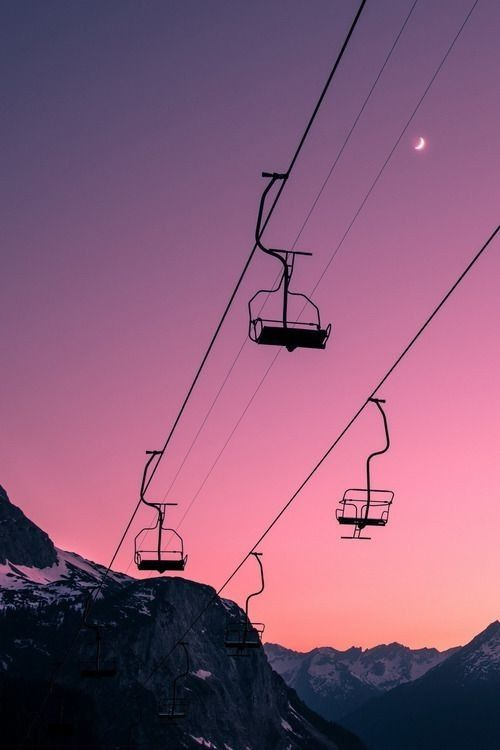 Ski lift at sunset