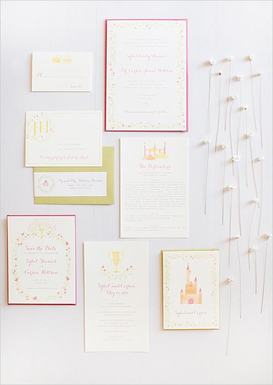 hello!lucky flora and fauna wedding invite