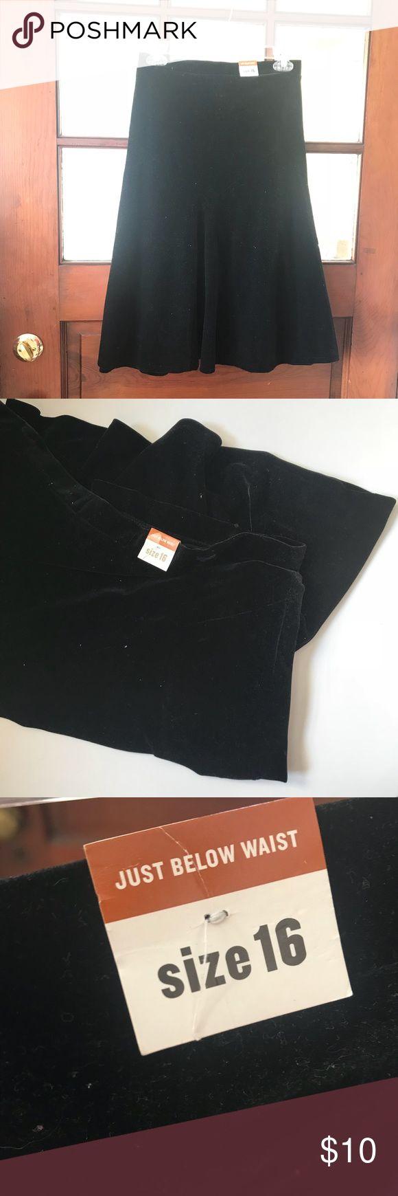 New!! Old Navy Velvet Black Skirt- 16 New!! Old Navy Velvet Skirt Size 16 Color: Black Fit: Just below the waist Old Navy Skirts Midi