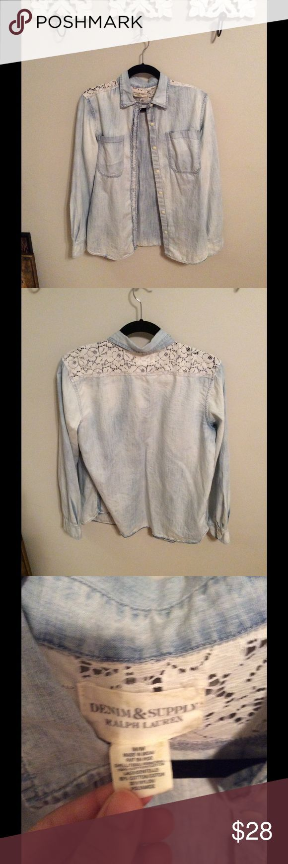 Ralph Lauren Denim Shirt Light Denim Shirt with lace detailing on shoulders. Super comfy and soft! Only worn a couple of times. Denim & Supply Ralph Lauren Tops Blouses