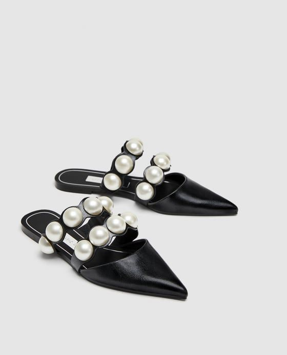 bf48987d5a6 FLAT MULES WITH PEARL BEADS from Zara