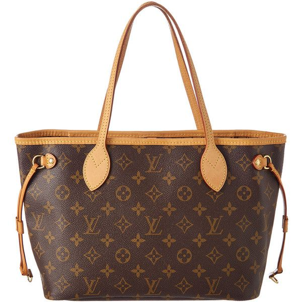 Louis Vuitton Monogram Canvas Neverfull Pm ($1,000) ❤ liked on Polyvore featuring bags, nocolor, brown bag, louis vuitton, shoulder strap bags, pre owned bags and louis vuitton bags