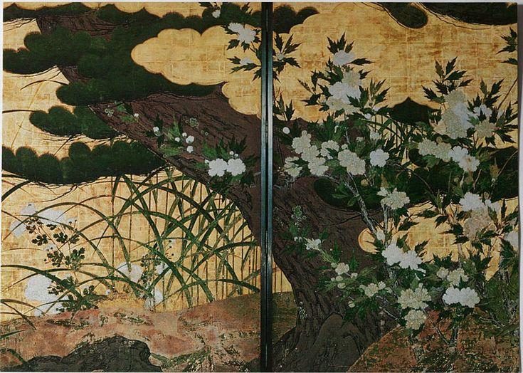 長谷川等伯「松に草花図」