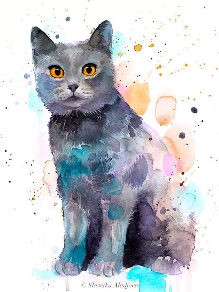 Chartreux Aquarell Kunstdruck von Slaveika Aladjova, Kunst, Tier, Illustration, … – A Katze