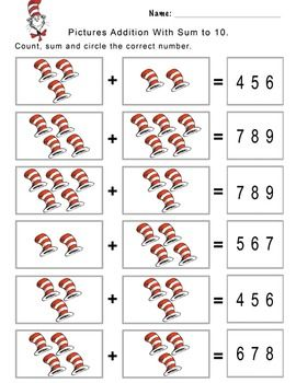 The Cat In The Hat Addition Worksheet