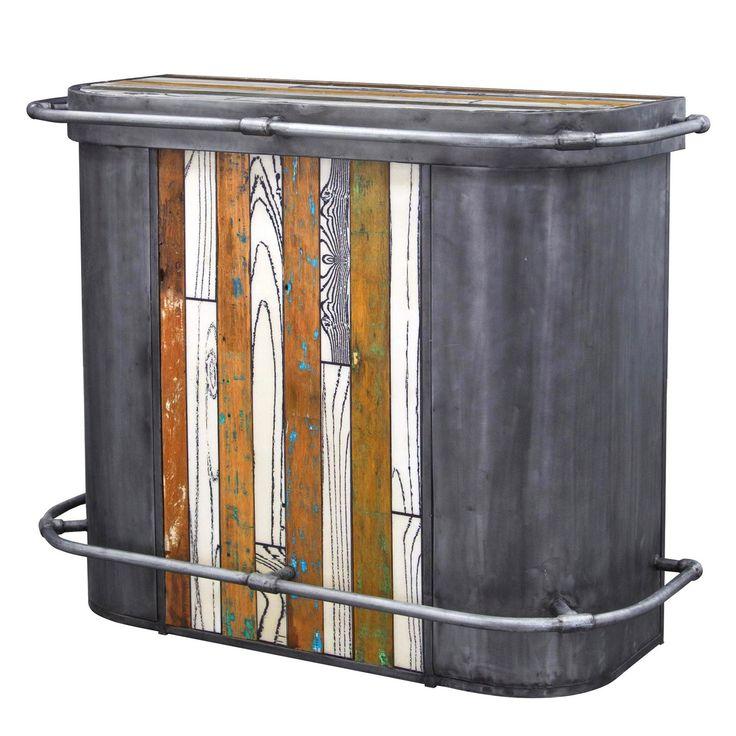 Bar compact 4étagères- Edition originale - Modèle SY14W Plateau en bois de bateaux recyclé et résine, structure en fer patiné. Chaque meuble est unique et numéroté. Nous sélectionnons les plus beaux meubles, les photographions dans l'atelier (d'où le décor rustique) et en assurons la traçabilité jusqu'à chez vousafin que vous choisissiez votre pièce unique.