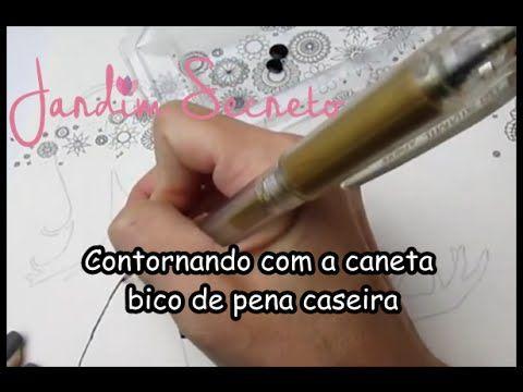 Jardim Secreto - Contornando com a caneta bico de pena caseira | Luciana...
