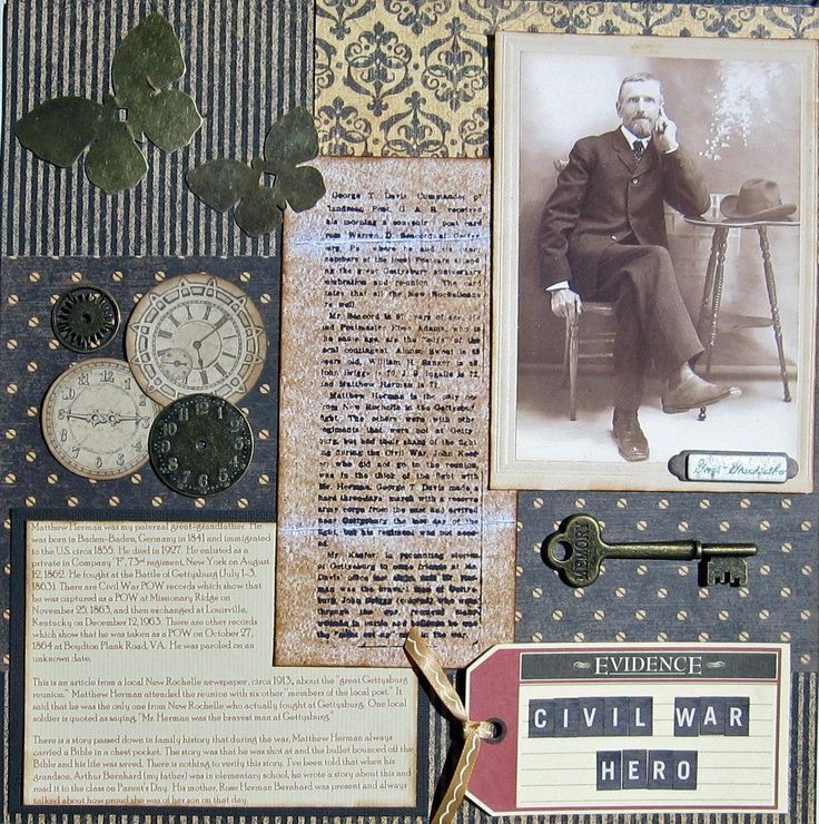 Ancestry Scrapbooking Layouts | Civil War Hero | Scrapbooking-Heritage Layouts