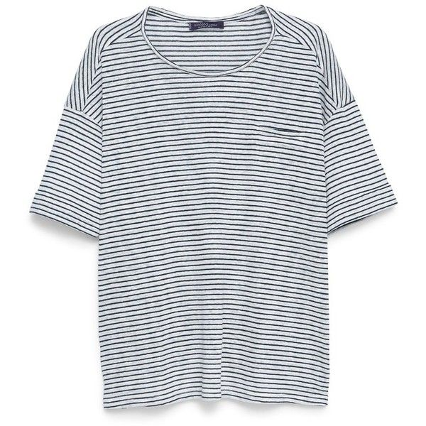 Linen T-Shirt (3.790 RUB) ❤ liked on Polyvore featuring tops, t-shirts, short sleeve scoop neck tee, stripe tee, short sleeve tops, embellished tee and stripe t shirt